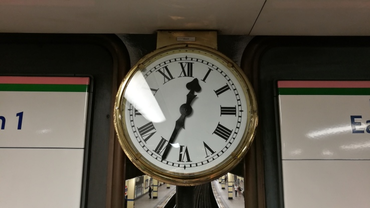 The clock at Aldgate East