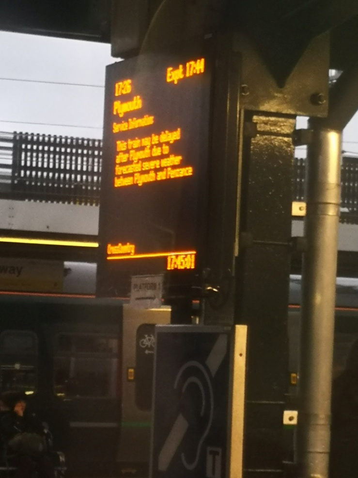 This train may be delayed after Plymouth due to forecasted severe weather between Plymouth and Penzance