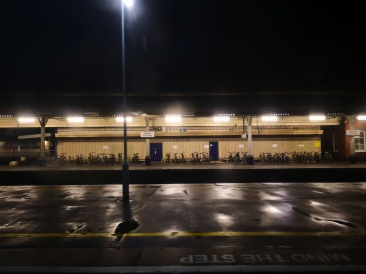 Exeter station at night looks as wet as during day, still haven't see 'storm' weather